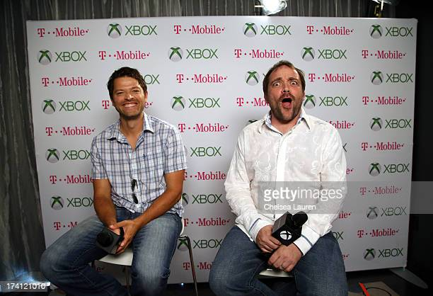 Actors Misha Collins and Mark Sheppard visit Xbox One at ComicCon 2013 at the Hard Rock Hotel San Diego on July 20 2013 in San Diego California