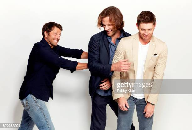 Actors Misha Collins Jared Padalecki and Jensen Ackles from CW's 'Supernatural' pose for a portrait during ComicCon 2017 at Hard Rock Hotel San Diego...