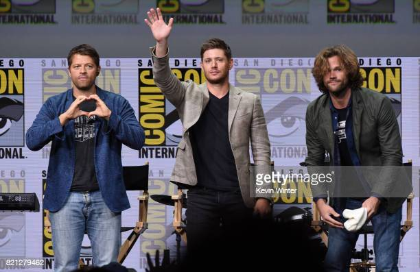 Actors Misha Collins Jensen Ackles and Jared Padalecki at the 'Supernatural' panel during ComicCon International 2017 at San Diego Convention Center...