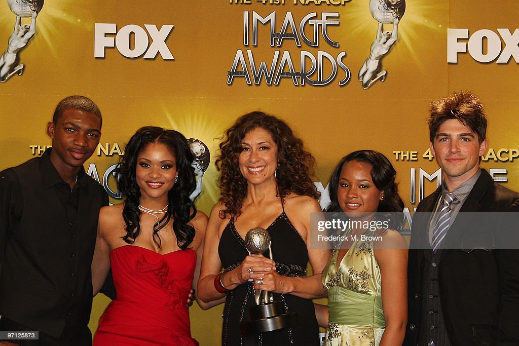Actors Mishon Ratliff, <a gi-track='captionPersonalityLinkClicked' href=/galleries/search?phrase=Erica+Hubbard&family=editorial&specificpeople=677987 ng-click='$event.stopPropagation()'>Erica Hubbard</a>, producer Kathleen McGhee-Anderson, Rhyon Brown and Robert Adamson of 'Lincoln Heights' winner of Outstanding Drama Series pose in the press room during the 41st NAACP Image awards held at The Shrine Auditorium on February 26, 2010 in Los Angeles, California.