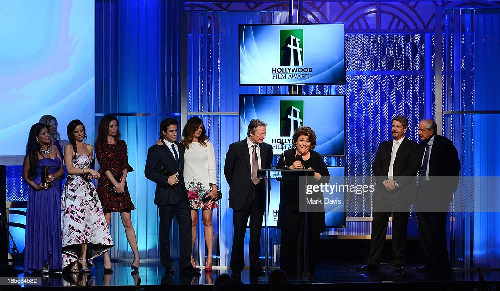 Actors <a gi-track='captionPersonalityLinkClicked' href=/galleries/search?phrase=Misty+Upham&family=editorial&specificpeople=4835047 ng-click='$event.stopPropagation()'>Misty Upham</a>, <a gi-track='captionPersonalityLinkClicked' href=/galleries/search?phrase=Juliette+Lewis&family=editorial&specificpeople=202873 ng-click='$event.stopPropagation()'>Juliette Lewis</a>, <a gi-track='captionPersonalityLinkClicked' href=/galleries/search?phrase=Julianne+Nicholson&family=editorial&specificpeople=757237 ng-click='$event.stopPropagation()'>Julianne Nicholson</a>, <a gi-track='captionPersonalityLinkClicked' href=/galleries/search?phrase=Dermot+Mulroney&family=editorial&specificpeople=208776 ng-click='$event.stopPropagation()'>Dermot Mulroney</a>, <a gi-track='captionPersonalityLinkClicked' href=/galleries/search?phrase=Julia+Roberts&family=editorial&specificpeople=202605 ng-click='$event.stopPropagation()'>Julia Roberts</a>, Chris Cooper and <a gi-track='captionPersonalityLinkClicked' href=/galleries/search?phrase=Margo+Martindale&family=editorial&specificpeople=2649306 ng-click='$event.stopPropagation()'>Margo Martindale</a> accept the Hollywood Ensemble Cast Award for 'August: Osage County,' as director John Wells and presenter Garry Marshall look on, onstage during the 17th annual Hollywood Film Awards at The Beverly Hilton Hotel on October 21, 2013 in Beverly Hills, California.