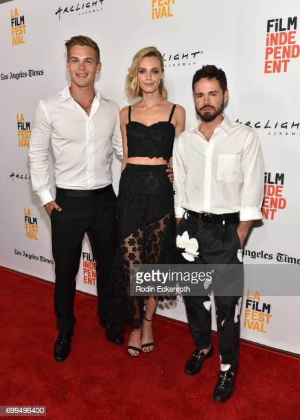 Actors Mitchell Slaggert Christine Marzano and filmmaker Daniel Peddle attend the screening of 'Moss' and 'Goose' during the 2017 Los Angeles Film...