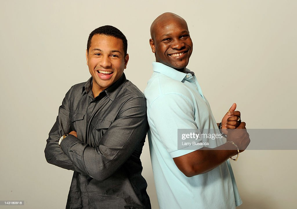 Actors Mizinga Mwinga and Alain Lino Mic Eli Bastien of the film 'War Witch' visit the Tribeca Film Festival 2012 portrait studio at the Cadillac...