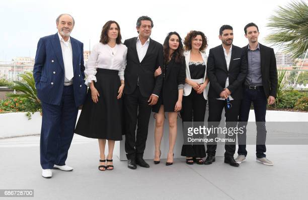 Actors Mohamed Dhjouri Aure Atika Hassan Kachach Hania Amar Nadia Kaci director Karim Moussaoui and actor Mehdi Ramdani attend 'Waiting For Swallows...