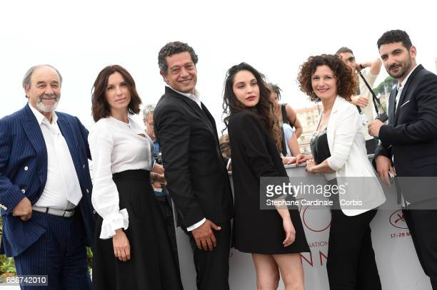Actors Mohamed Djouhri Aure Atika Hassan Kachach Hania Amar Nadia Kaci and director Karim Moussaoui attend 'Waiting For Swallows ' photocall during...