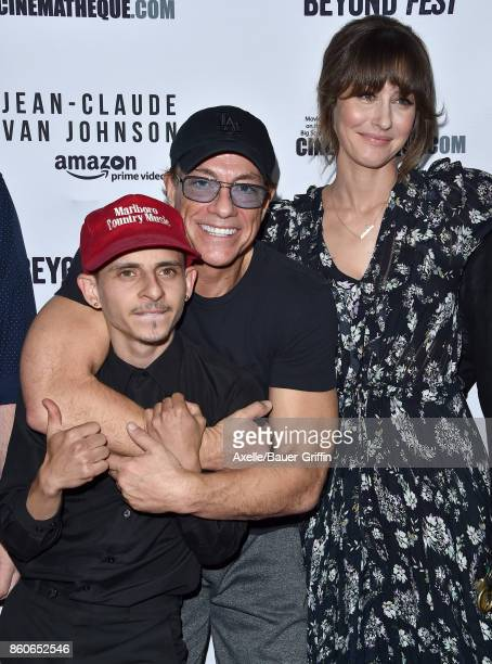 Actors Moises Arias JeanClaude Van Damme and Kat Foster arrive at the Beyond Fest screening of Amazon's 'JeanClaude Van Johnson' at The Egyptian...