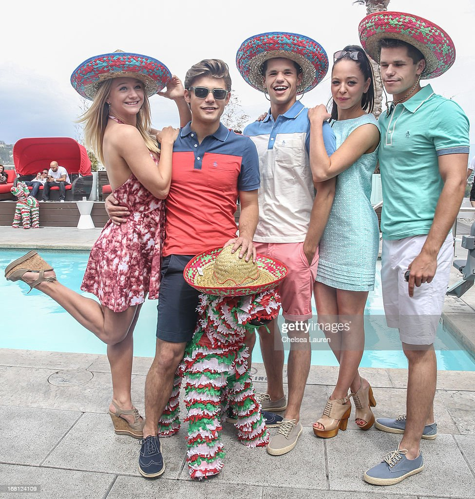 Actors Mollee Gray, Garrett Clayton, Charlie Carver, <a gi-track='captionPersonalityLinkClicked' href=/galleries/search?phrase=Portia+Doubleday&family=editorial&specificpeople=5850991 ng-click='$event.stopPropagation()'>Portia Doubleday</a> and Max Carver attend the Original Penguin summer collection launch event at Drai's Hollywood on May 5, 2013 in Hollywood, California.