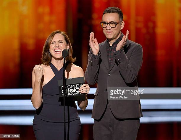 Actors Molly Shannon and Fred Armisen speak onstage during the People's Choice Awards 2017 at Microsoft Theater on January 18 2017 in Los Angeles...