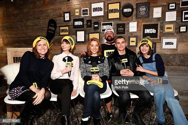 Actors Molly Shannon Kate Micucci Aubrey Plaza Dave Franco and Alison Brie of 'The Little Hours' with Kevin Smith at The IMDb Studio featuring the...