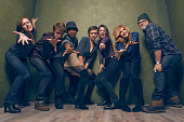 Actors Molly Shannon Katherine C Hughes RJ Cyler Olivia Cooke Thomas Mann Connie Britton and Nick Offerman from 'Me Earl the Dying Girl' pose for a...