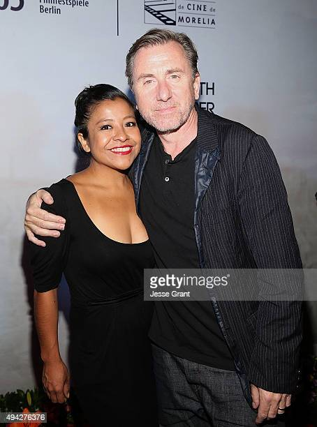 Actors Monica del Carmen and Tim Roth attend the Mexican premiere of '600 Millas' during The 13th Annual Morelia International Film Festival on...
