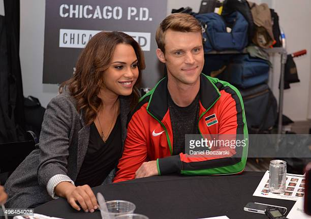 Actors Monica Raymund and Jesse Spencer attend a press junket for NBC's 'Chicago Fire' 'Chicago PD' and 'Chicago Med' at Cinespace Chicago Film...