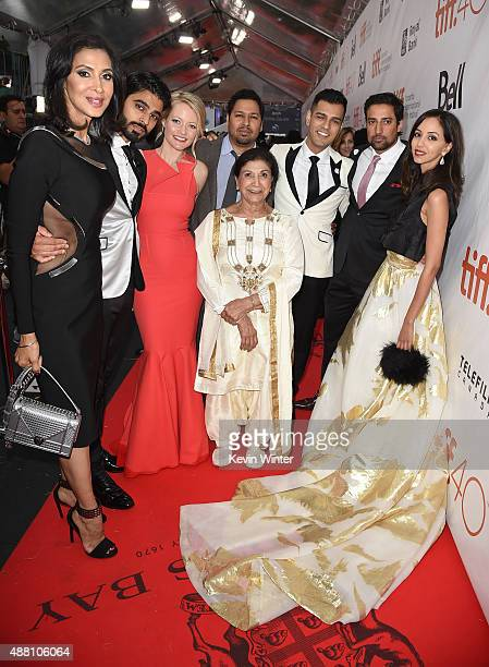 Actors Monika Deol Jag Bal Sarah Allen Dileep Rao Balinder Johal Gabe Grey Steve Dhillon and Gia Sandhu attend the 'Beeba Boys' premiere during the...