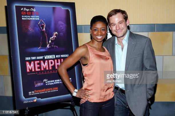 Actors Montego Glover and Chad Kimball attend the New York Premiere of 'Memphis' at Regal Union Square Theatre Stadium 14 on April 25 2011 in New...