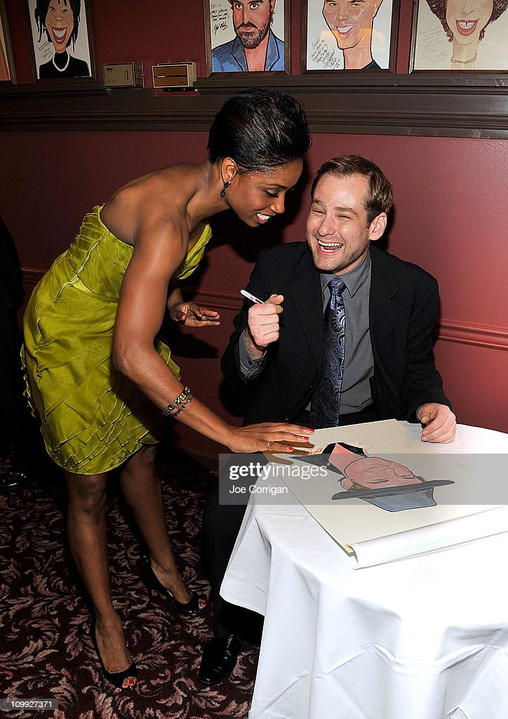 Actors Montego Glover and Chad Kimball attend their caricature unveiling for Broadway's 'Memphis' at Sardi's on March 10, 2011 in New York City.
