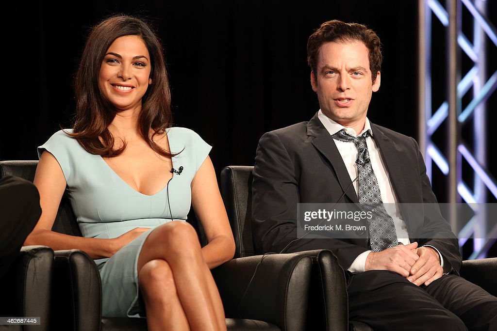 Actors <a gi-track='captionPersonalityLinkClicked' href=/galleries/search?phrase=Moran+Atias&family=editorial&specificpeople=3964520 ng-click='$event.stopPropagation()'>Moran Atias</a> and <a gi-track='captionPersonalityLinkClicked' href=/galleries/search?phrase=Justin+Kirk&family=editorial&specificpeople=242806 ng-click='$event.stopPropagation()'>Justin Kirk</a> of the television show 'Tyrant' speak onstage during the FX portion of the 2014 Television Critics Association Press Tour at the Langham Hotel on January 14, 2014 in Pasadena, California.