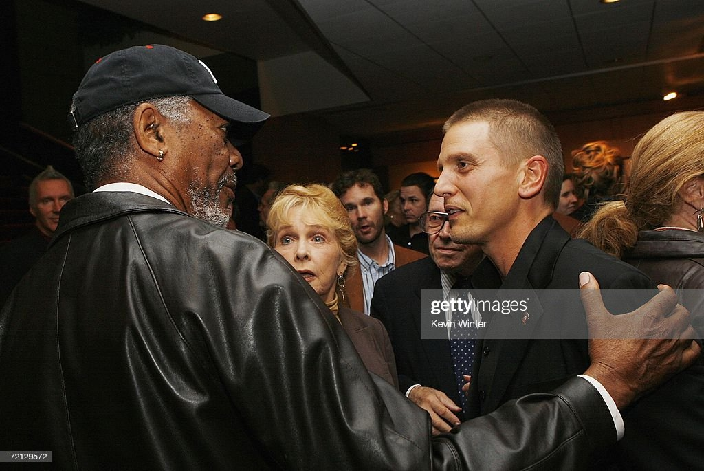 Actors Morgan Freeman (L) and Barry Pepper talk at the afterparty for the premiere of Paramount's 'Flags Of Our Fathers' at the Academy of Motion Picture Arts and Sciences on October 9, 2006 in Beverly Hills, California.