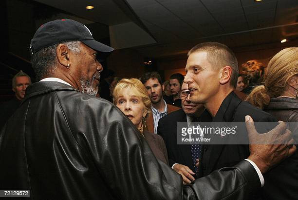 Actors Morgan Freeman and Barry Pepper talk at the afterparty for the premiere of Paramount's 'Flags Of Our Fathers' at the Academy of Motion Picture...