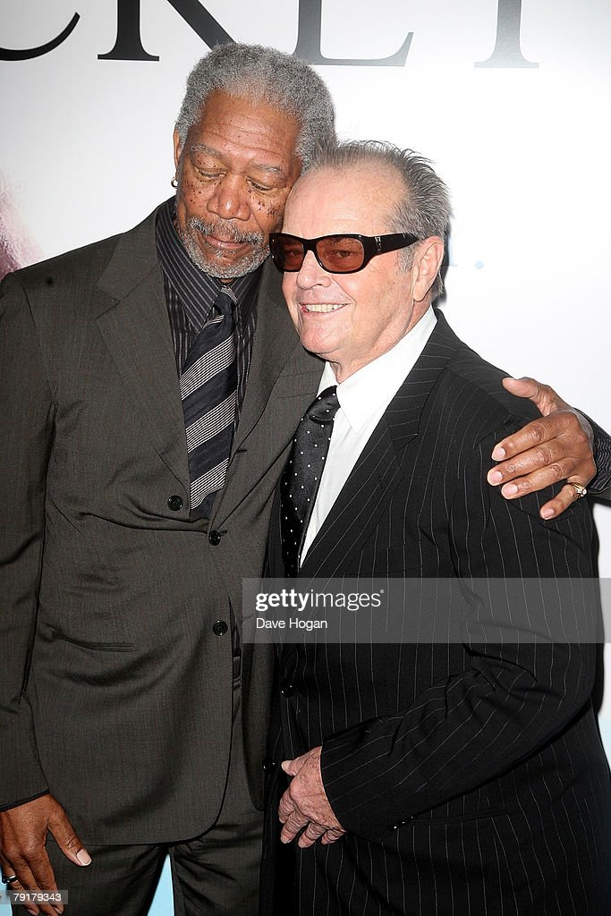 Actors Morgan Freeman (L) and Jack Nicholson arrivesat the UK premiere of 'The Bucket List' at the Vue cinema, Leicester Square on January 23, 2008 in London, England.