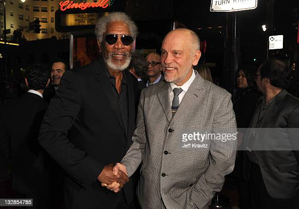 Actors Morgan Freeman and John Malkovich arrive at the Los Angeles Special Screening of 'RED' held at Grauman's Chinese Theatre on October 11 2010 in...