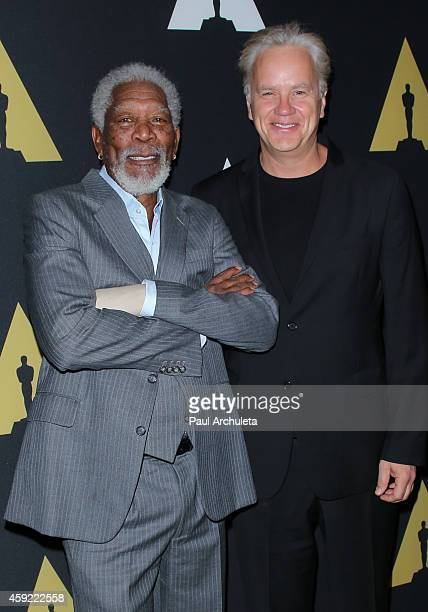 Actors Morgan Freeman and Tim Robbins attend the 20th anniversary screening of 'The Shawshank Redemption' at the AMPAS Samuel Goldwyn Theater on...