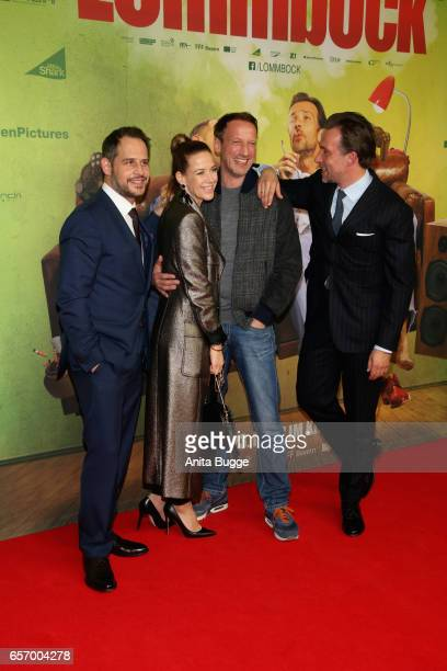 Actors Moritz Bleibtreu Alexandra Neldel Wotan Wilke Moehring and Lucas Gregorowicz during the premiere of the film 'Lommbock' at CineStar on March...