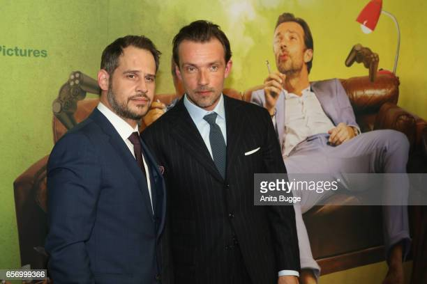 Actors Moritz Bleibtreu and Lucas Gregorowicz during the premiere of the film 'Lommbock' at CineStar on March 23 2017 in Berlin Germany