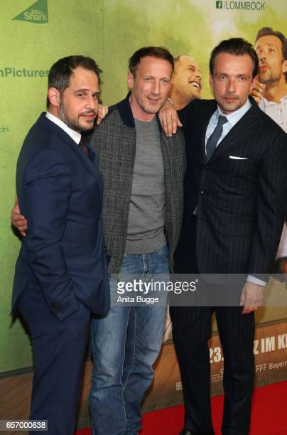 Actors Moritz Bleibtreu Wotan Wilke Moehring and Lucas Gregorowicz during the premiere of the film 'Lommbock' at CineStar on March 23 2017 in Berlin...
