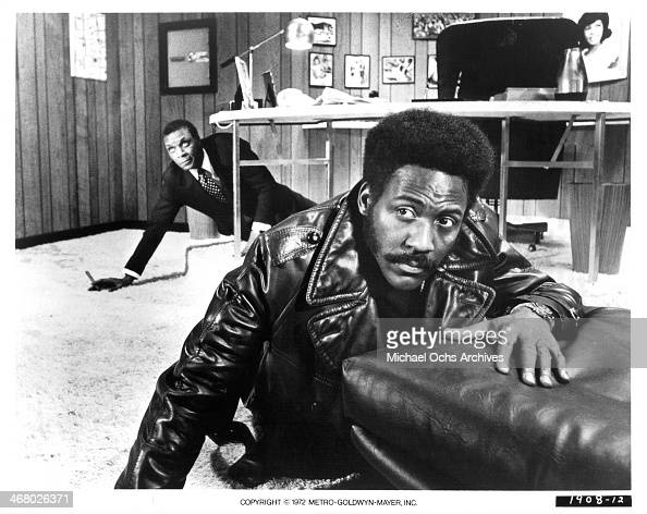 Actors Moses Gunn and Richard Roundtree on set of the movie 'Shaft's Big Score' circa 1972