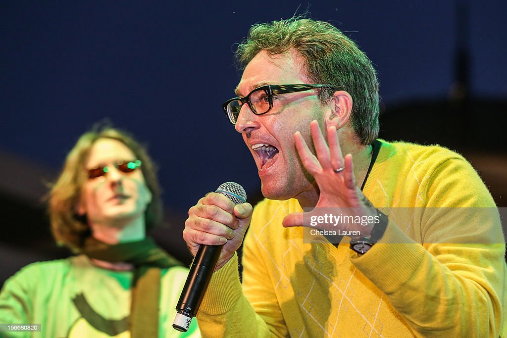 Actors Mr. Lawrence (L) and <a gi-track='captionPersonalityLinkClicked' href=/galleries/search?phrase=Tom+Kenny&family=editorial&specificpeople=215463 ng-click='$event.stopPropagation()'>Tom Kenny</a> perform in the 'Spongebob Holiday Extravapants!' stage show at The Grove on November 18, 2012 in Los Angeles, California.