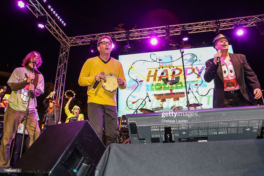 Actors Mr. Lawrence, Tom Kenny and Bill Fagerbakke perform in the 'Spongebob Holiday Extravapants!' stage show at The Grove on November 18, 2012 in Los Angeles, California.