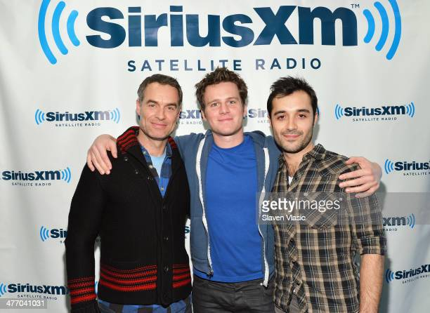 Actors Murray Bartlett Jonathan Groff and Frankie J Alvarez of HBO's 'Looking' visit SiriusXM Studios on March 6 2014 in New York City