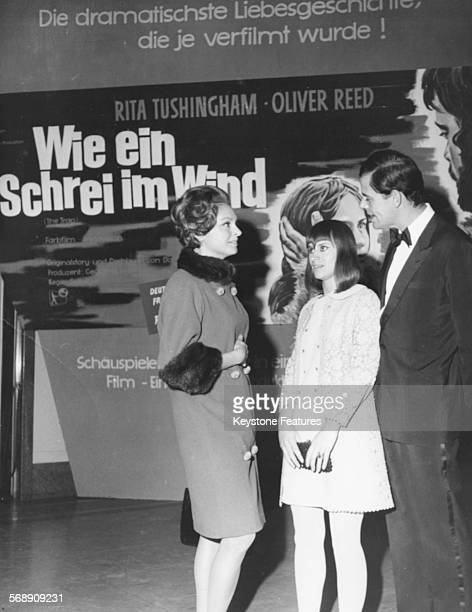 Actors Nadja Tiller Rita Tushingham and Walter Giller at the premiere of their film 'The Trap' at the UfaLuitpold Theatre in Munich October 28th 1966