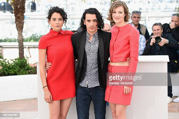 Actors Nailia Harzoune Rachid Youcef and Celine Sallette attend the 'Geronimo' photocall at the 67th Annual Cannes Film Festival on May 20 2014 in...