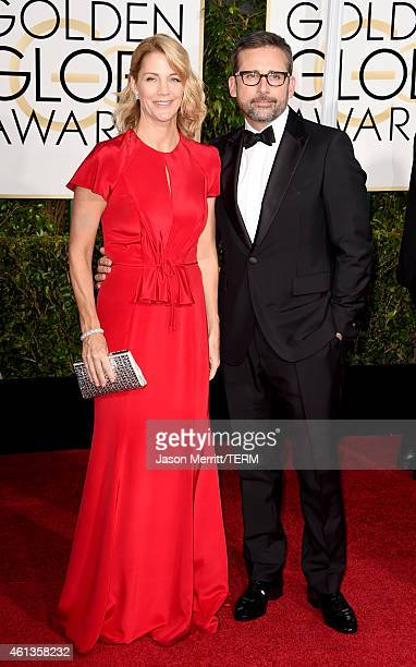 Actors Nancy Carell and Steve Carell attend the 72nd Annual Golden Globe Awards at The Beverly Hilton Hotel on January 11 2015 in Beverly Hills...