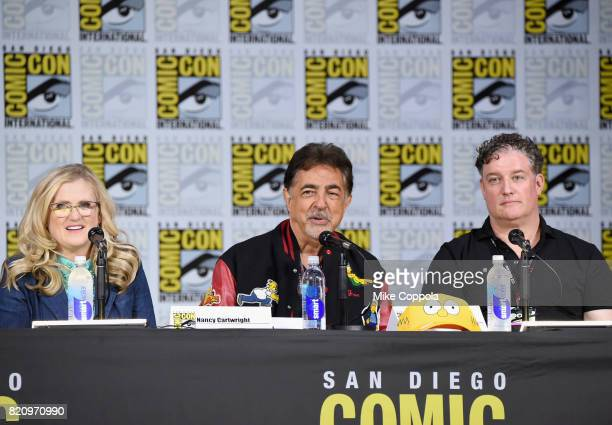 Actors Nancy Cartwright and Joe Mantegna and producer Al Jean attend 'The Simpsons' panel during ComicCon International 2017 at San Diego Convention...