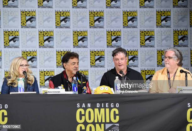 Actors Nancy Cartwright and Joe Mantegna producer Al Jean and writer/producer Matt Groening attend 'The Simpsons' panel during ComicCon International...