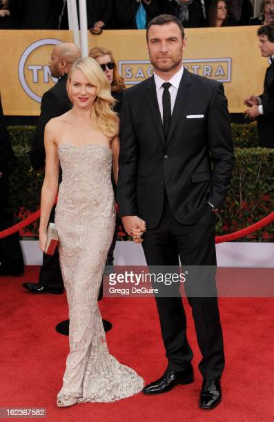 Actors Naomi Watts and Liev Schreiber arrive at the 19th Annual Screen Actors Guild Awards at The Shrine Auditorium on January 27 2013 in Los Angeles...