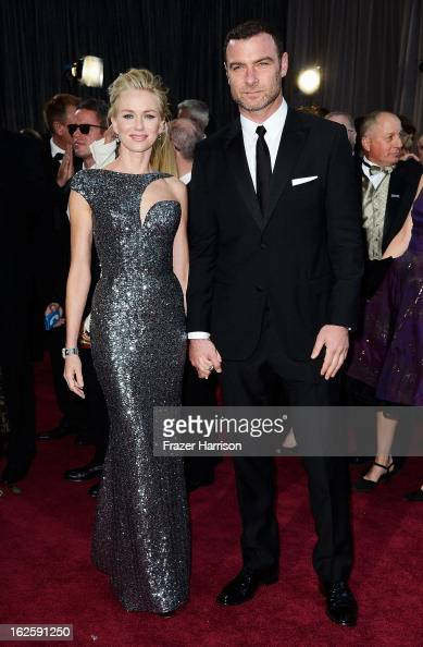 Actors Naomi Watts and Liev Schreiber arrive at the Oscars at Hollywood Highland Center on February 24 2013 in Hollywood California