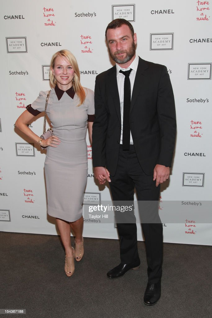 Actors <a gi-track='captionPersonalityLinkClicked' href=/galleries/search?phrase=Naomi+Watts&family=editorial&specificpeople=171723 ng-click='$event.stopPropagation()'>Naomi Watts</a> and <a gi-track='captionPersonalityLinkClicked' href=/galleries/search?phrase=Liev+Schreiber&family=editorial&specificpeople=203259 ng-click='$event.stopPropagation()'>Liev Schreiber</a> attend the 2012 Take Home a Nude Benefit Art Auction at Sotheby's on October 18, 2012 in New York City.