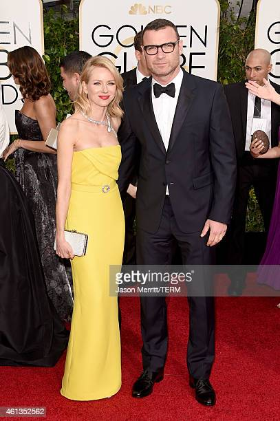 Actors Naomi Watts and Liev Schreiber attend the 72nd Annual Golden Globe Awards at The Beverly Hilton Hotel on January 11 2015 in Beverly Hills...