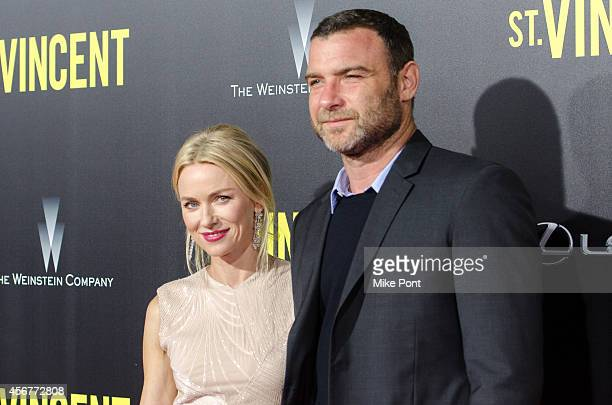 Actors Naomi Watts and Liev Schreiber attend the New York Premiere of 'St Vincent' at the Ziegfeld Theater on October 6 2014 in New York City