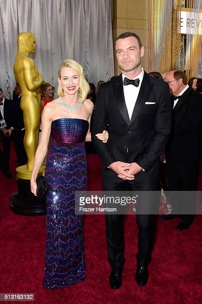 Actors Naomi Watts and Liev Schreiber attends the 88th Annual Academy Awards at Hollywood Highland Center on February 28 2016 in Hollywood California