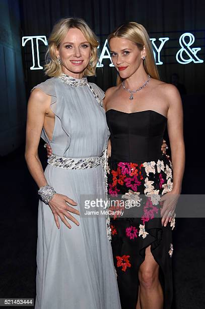 Actors Naomi Watts and Reese Witherspoon attend the Tiffany Co Blue Book Gala at The Cunard Building on April 15 2016 in New York City