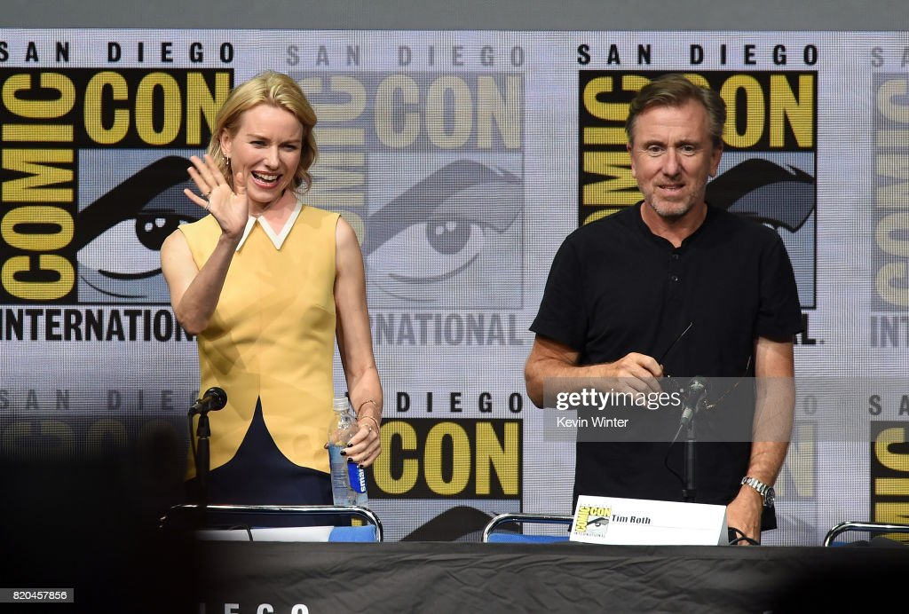 Actors Naomi Watts and Tim Roth speak onstage at Comic-Con International 2017 Twin Peaks: A Damn Good Panel at San Diego Convention Center on July 21, 2017 in San Diego, California.
