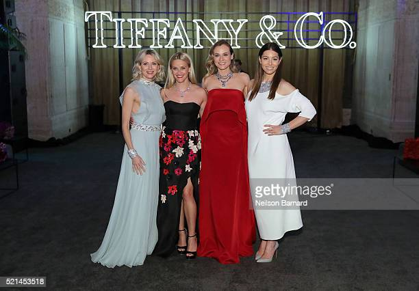 Actors Naomi Watts Reese Witherspoon Diane Kruger and Jessica Biel attend the Tiffany Co Blue Book Gala at The Cunard Building on April 15 2016 in...