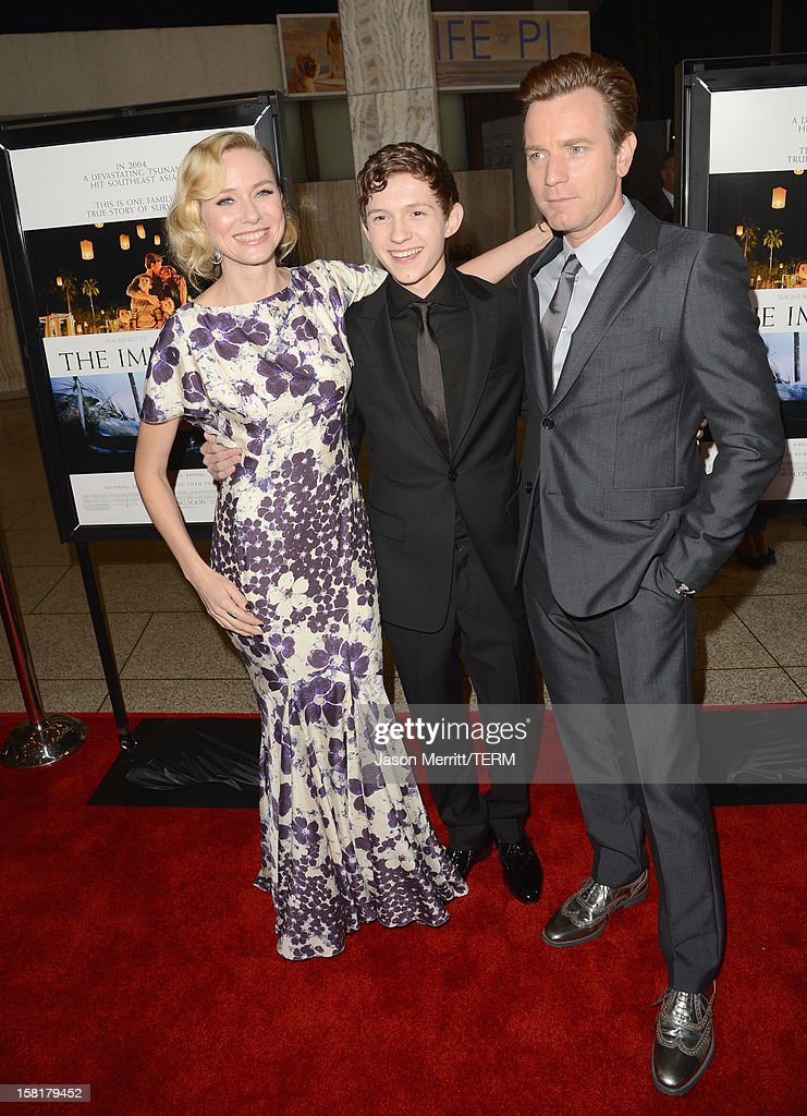 Actors Naomi Watts, Tom Holland and Ewan McGregor attend the Los Angeles premiere of Summit Entertainment's 'The Impossible' at ArcLight Cinemas Cinerama Dome on December 10, 2012 in Hollywood, California.