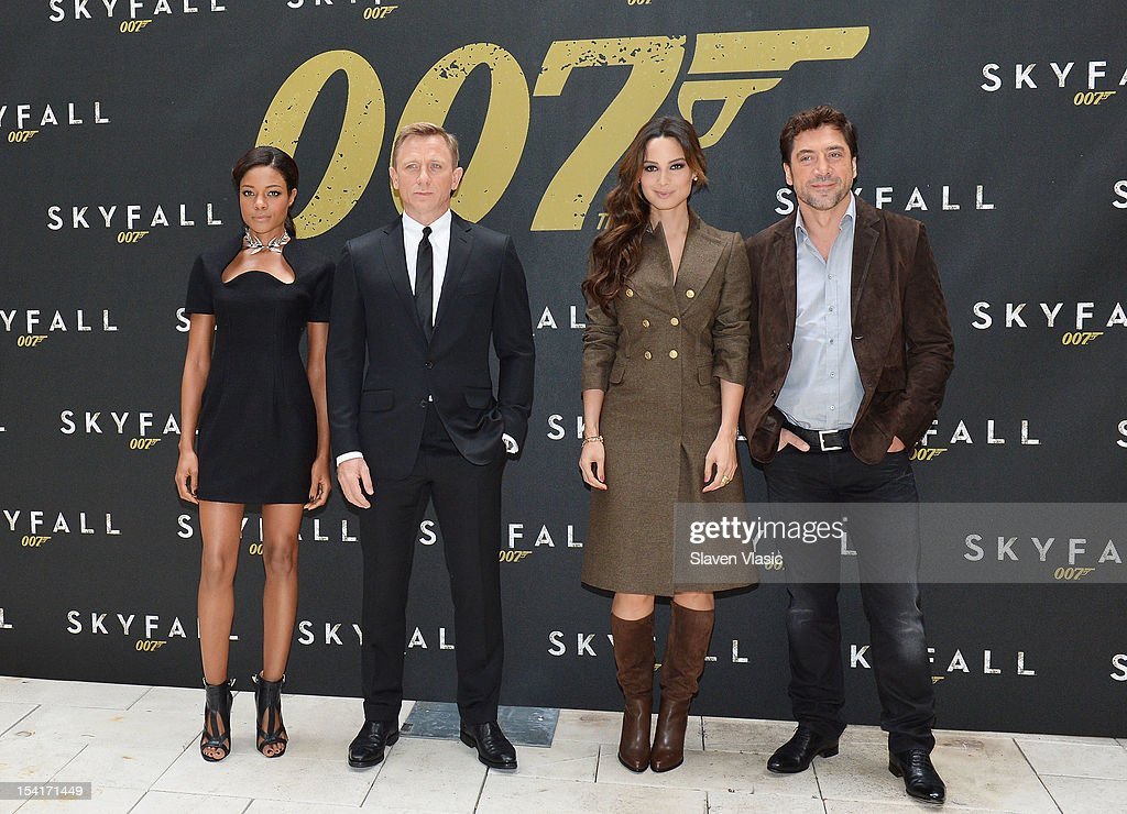 Actors <a gi-track='captionPersonalityLinkClicked' href=/galleries/search?phrase=Naomie+Harris&family=editorial&specificpeople=238918 ng-click='$event.stopPropagation()'>Naomie Harris</a>, Daniel Craig, Bernice Marlohe and <a gi-track='captionPersonalityLinkClicked' href=/galleries/search?phrase=Javier+Bardem&family=editorial&specificpeople=209334 ng-click='$event.stopPropagation()'>Javier Bardem</a> attend 'Skyfall' Cast Photo Call at Crosby Street Hotel on October 15, 2012 in New York City.