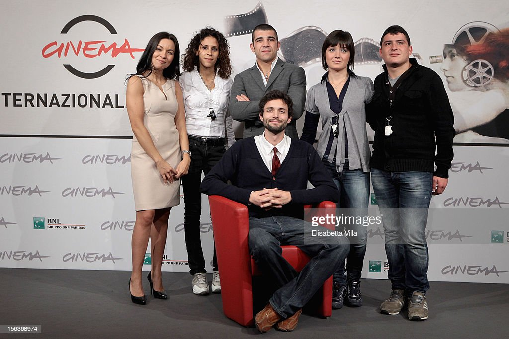 actors Narimen Cardia, Enrico Toscano, Maria Benkhalouk, Elisa Pennisi, Marco Pagliaro (front row) and director Joel Stangle attend the 'Acqua Fuori Dal Ring/La Prima Legge Di Newton' Photocall during the 7th Rome Film Festival at the Auditorium Parco Della Musica on November 14, 2012 in Rome, Italy.
