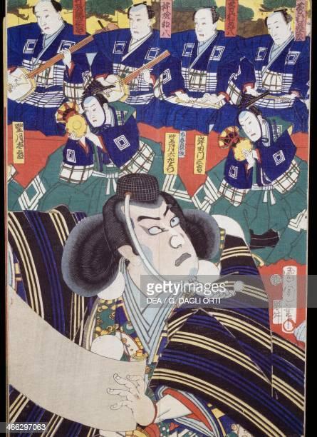 Actors narrators and shamisen players Kabuki theatre scene 19th century Kabuki theatre ukiyoe art print woodcut Japanese civilisation Edo period...